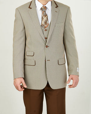 Mens Classic Brown Tan Fancy Houndstooth Suit with Vest + Solid Brown Pants