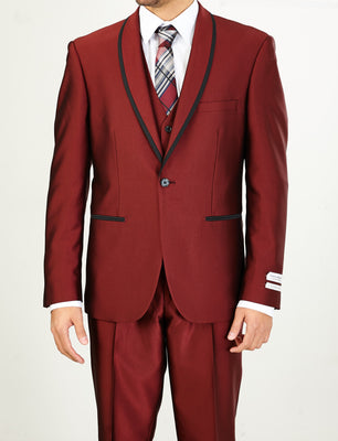 Mens Fashionably Retro Style Suit Burgundy with Black Trim + Matching Vest