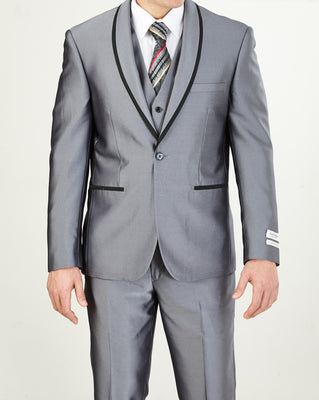 Mens Fashionably Retro Style Suit Shiny Silver with Black Trim + Matching Vest