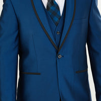 Mens Fashionably Retro Style Suit Monaco Blue with Black Trim + Matching Vest