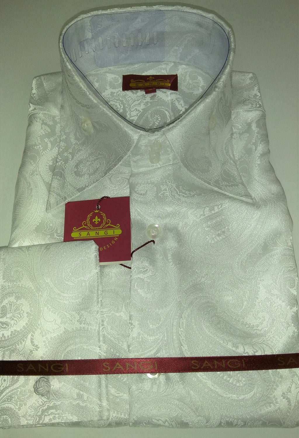 Mens Shimmery White Paisley High Collar F/C Shirt SANGI MILAN COLLECTION # 2035