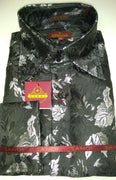 Mens Black Metallic Floral High Collar F/C Shirt SANGI MILAN COLLECTION # 2059
