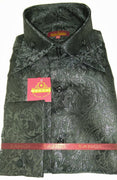 Mens Black Foil Ivy Paisley High Collar F/C Shirt SANGI MILAN COLLECTION # 2052