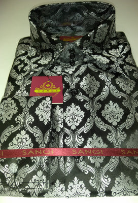 Mens Black Silver Damask High Collar French Cuff Jacquard Shirt SANGI MILAN COLLECTION 2039