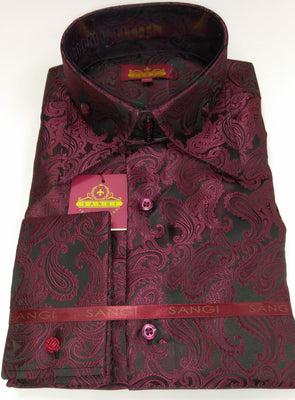Mens Black Burgundy Paisley High Collar F/C Jacquard Shirt SANGI MILAN COLLECTION 2043