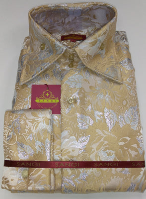 Mens Ecru Sand Metallic Floral High Collar French Cuff Shirt SANGI MILAN COLLECTION 2054