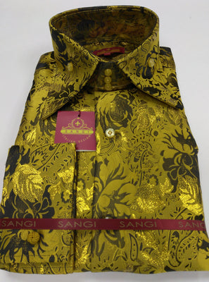 Mens Mega Gold Metallic Floral High Collar F/C Jacquard Shirt SANGI MILAN COLLECTION 2057