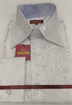 Mens White Silver Foil Ivy Paisley High Collar F/C Jacquard Shirt SANGI MILAN COLLECTION 2048