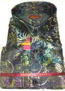 Mens Black-Multi Bird Of Paradise High Collar F/C Shirt SANGI MILAN COLLECTION 2061