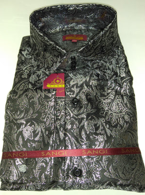 Mens Black Silver Foil Ivy Paisley High Collar F/C Jacquard Shirt SANGI MILAN COLLECTION 2050