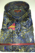 Mens Blue-Multi Bird Of Paradise High Collar F/C Shirt SANGI MILAN COLLECTION 2060