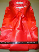 Mens Karl Knox Shiny Red Silky Satin Formal Dress Shirt Tie & Hanky - Nader Fashion Las Vegas