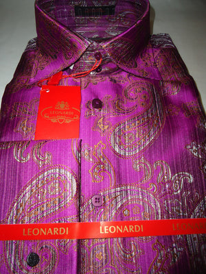Mens Leonardi High Collar Shirt French Cuff Magenta & Bronze Paisley Style# 38 - Nader Fashion Las Vegas