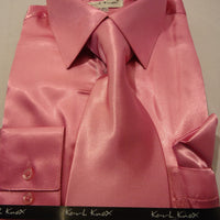 Mens Karl Knox Shiny Metallic Pink Silky Satin Dress Shirt Tie & Hanky Set - Nader Fashion Las Vegas