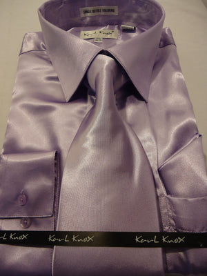 Mens Karl Knox Shiny Metallic Lavender Silky Satin Dress Shirt Tie & Hanky - Nader Fashion Las Vegas