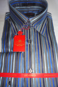 Mens Leonardi Refined Charcoal Grey Striped High Collar F/C Dress Shirt # 013 - Nader Fashion Las Vegas