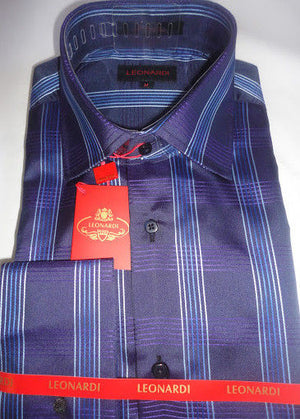 Mens Leonardi Rich Navy & Purple Tartan Plaid High Collar F/C Dress Shirt # 001 - Nader Fashion Las Vegas