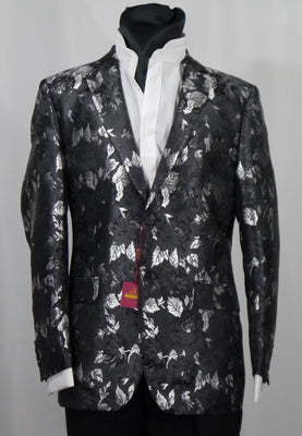 Mens Amazing Black Metallic Silver Floral Jacket SANGI MILAN COLLECTION J1038 S