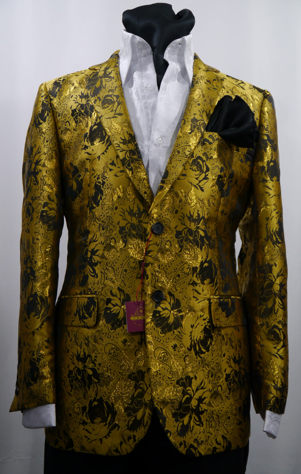 Mens Gold Shiny Metallic Foil Floral Jacket Blazer SANGI MILAN COLLECTION J1036 S