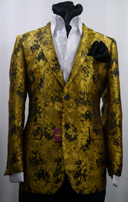Mens Gold Shiny Metallic Foil Floral Jacket Blazer SANGI MILAN COLLECTION J1036