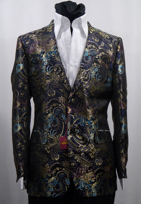 Mens Black-Multi Bird of Paradise Jacket Blazer SANGI MILAN COLLECTION J1040 S