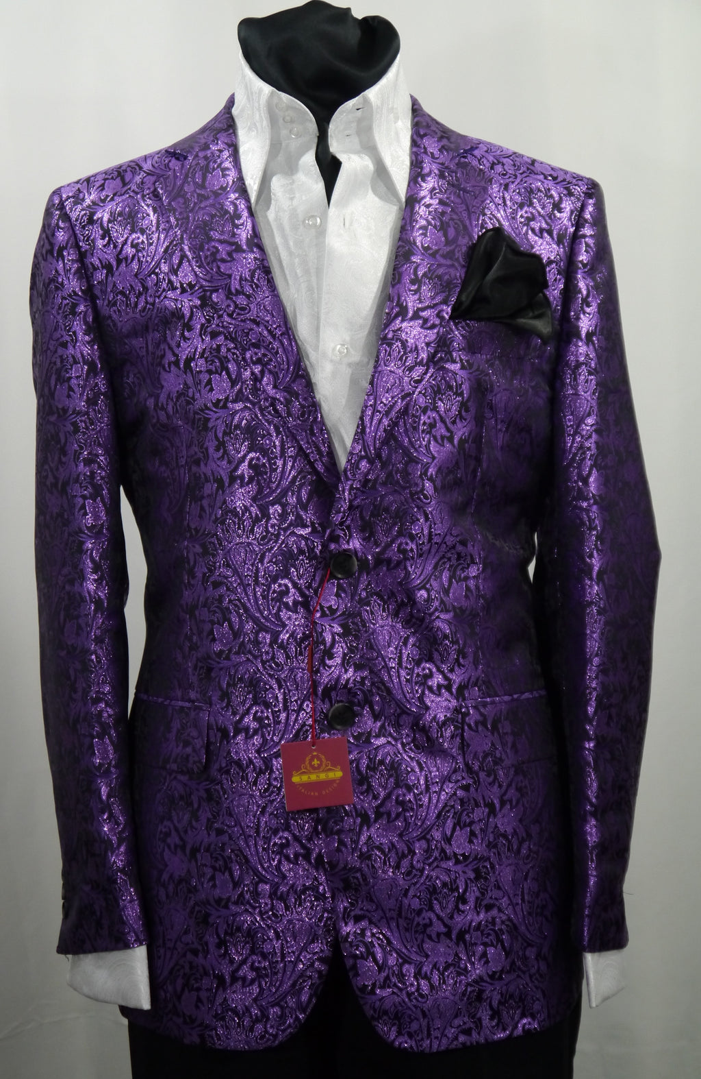 Mens Purple Shiny Foil Ivy Paisley Jacket Blazer SANGI MILAN COLLECTION J1034 S