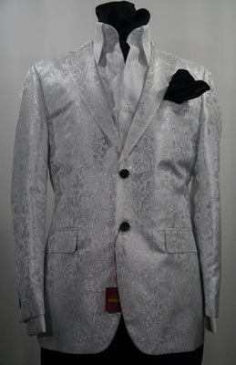 Mens Beautiful White Sparkle Cocktail Party Jacket SANGI MILAN COLLECTION J1030 S