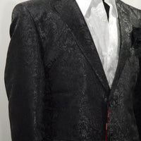 Mens Black Shiny Foil Ivy Paisley Dinner Jacket SANGI MILAN COLLECTION J1033 S