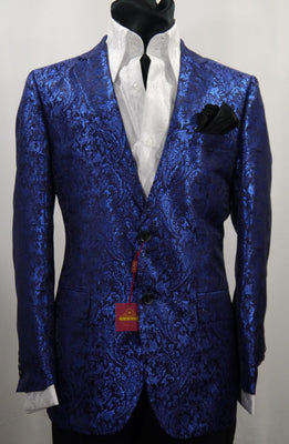 Mens Bright Blue Metallic Ivy Paisley Jacket Blazer SANGI MILAN COLLECTION J1029 S