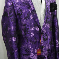 Mens Amazing Purple Metallic Floral Jacket Blazer SANGI MILAN COLLECTION J1035 S