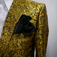 Mens Mega Gold Metallic Ivy Paisley Jacket Blazer SANGI MILAN COLLECTION J1032 S
