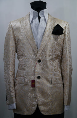 Mens Sparkly Pearl Cream Captain's Dinner Jacket SANGI MILAN COLLECTION J1031 S