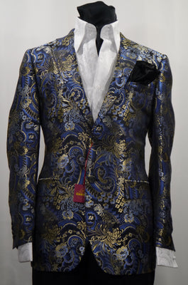 Mens Blue-Multi Bird of Paradise Jacket Blazer SANGI MILAN COLLECTION J1039 S
