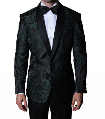 Mens Deep Forest Green Regal Fashion Formal Tuxedo Blazer Jacket Statement PJ100