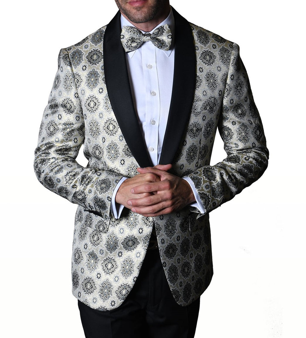 Mens Silvery White Silver Medallion Black Shawl Collar Jacket Statement PJ102