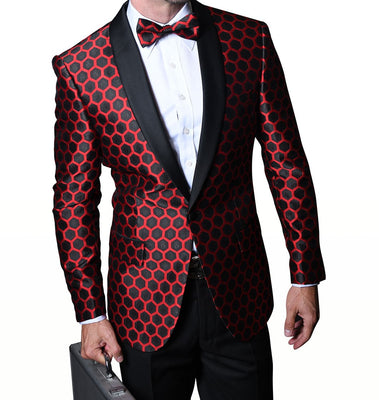 Mens Black Metallic Red Honeycomb Sophisticated Formal Blazer Statement PJ103