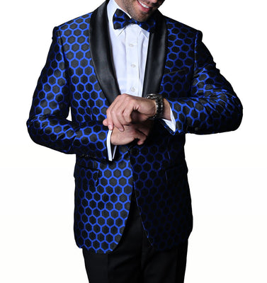 Mens Black Metallic Blue Honeycomb Sophisticated Formal Blazer Statement PJ103