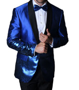 Mens Gorgeous Bright Blue Shimmer Show Formal Jacket + Bow Tie Statement PJ111