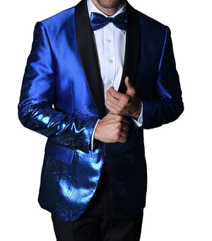 Mens Gorgeous Bright Blue Shimmer Show Formal Jacket + Bow Tie Statement PJ111 S
