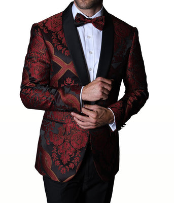 Mens Sophisticated Dark Red Black Embossed Formal Blazer Jacket Statement PJ100