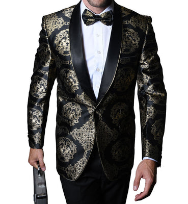 Mens Glossy BLack + Gold Medallion Jacquard Jacket + Bow Tie Statement SJ103