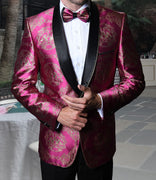 Mens Glossy Fuschia + Gold Medallion Jacquard Jacket + Bow Tie Statement SJ103