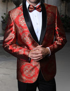 Mens Shiny Red Gold Arabesque Medallion Jacket Blazer & Bow Tie Statement SJ103