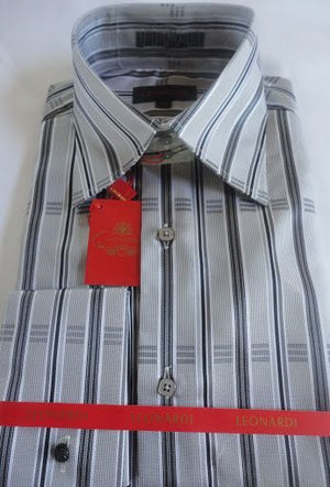 Mens Leonardi Classic Edition Gray & Grey Check High Collar Cuffed Shirt # 003 - Nader Fashion Las Vegas