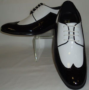Mens Shiny Patent Black & White Celebration Dress Shoes Harlem Knights 6262 - Nader Fashion Las Vegas