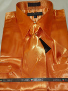 Mens Daniel Ellissa Orange Shiny Silky Satin Formal Dress Shirt Tie & Hanky - Nader Fashion Las Vegas