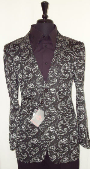 Mens Leonardi Handsome Black & White Paisley Dinner Jacket Blazer Style # 711 - Nader Fashion Las Vegas