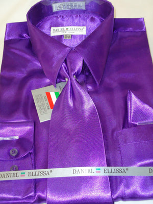 Mens Daniel Ellissa Rich Purple Shiny Silky Satin Formal Dress Shirt Tie Hanky - Nader Fashion Las Vegas