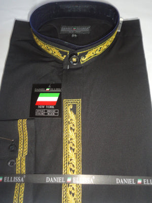 Mens Fancy Collarless Mandarin No Collar Dress Shirt Black & Gold DS3112C - Nader Fashion Las Vegas