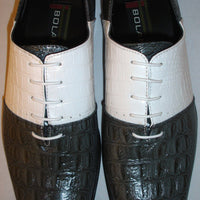 Mens New 2Tone Design Gray & White Exotic Look Dress Shoes Bolano Andrias-011 - Nader Fashion Las Vegas